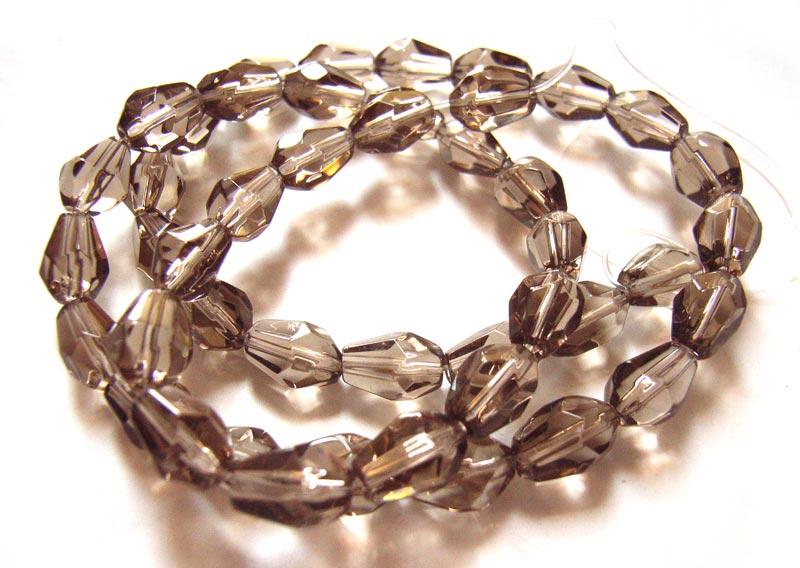 Fire Polished Glass Beads 7.5x5mm Teardrop - Smokey Quartz x45