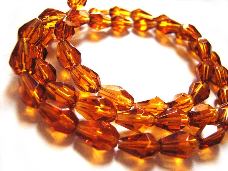 Fire Polished Glass Beads 7.5x5mm Teardrop - Topaz x45 close up