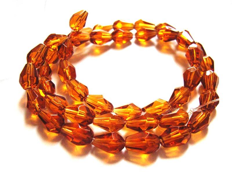 Fire Polished Glass Beads 7.5x5mm Teardrop - Topaz x45