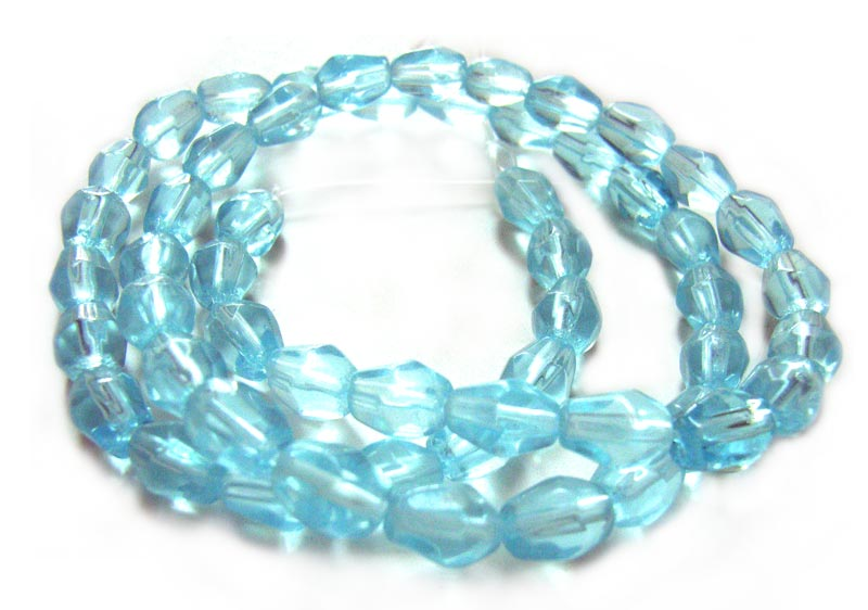 Fire Polished Glass Beads 6.5x5mm Nugget - Aquamarine x54