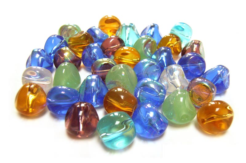Transparent Glass Beads 10x8.5mm Nugget - Soup Mix x28 beads