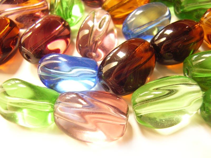 Transparent Glass Beads 12x8.5x8mm Twist Nugget - Soup Mix x28 beads