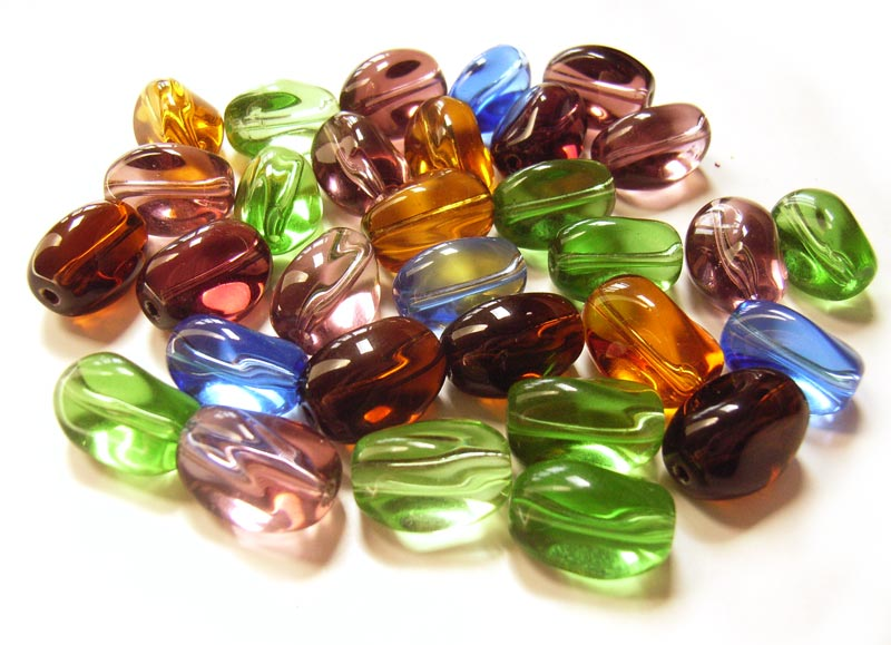 Transparent Glass Beads 12x8.5x8mm Twist Nugget - Soup Mix x28 beads  full pack 01