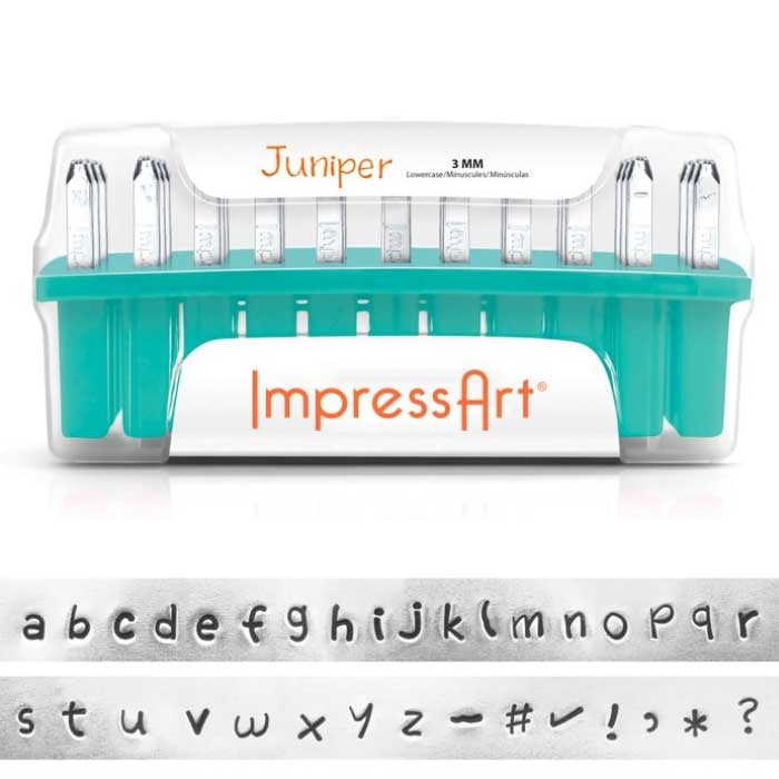 "3mm 1/8"" Alphabet Stamp Set - Juniper Lower Case - ImpressArt"