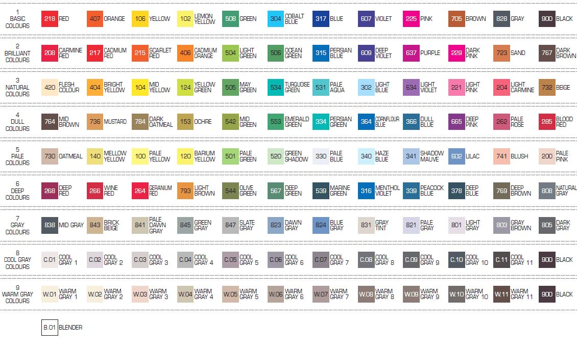 Kuretake - Zig Kurecolor Alcohol Inks Colour Chart