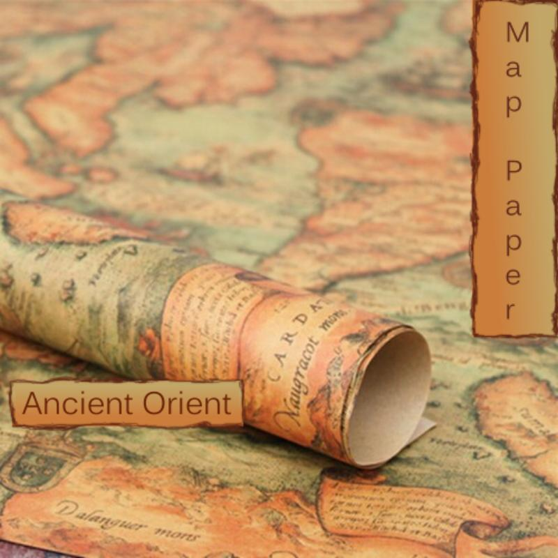 Vintage Orient India Pacific Map Ephemera Image Design, 29 x 20.5 inch (750 x 520 mm) Collage Sheet