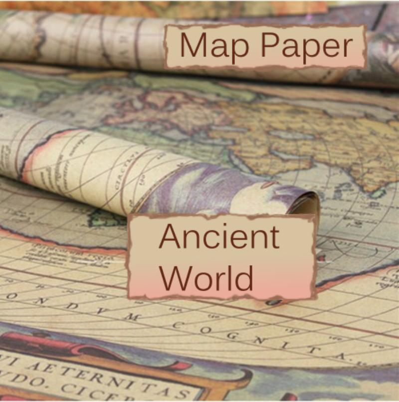 Vintage World Map Ephemera Image Design, 29 x 20.5 inch (750 x 520 mm) Collage Sheet Wrapping Paper UK