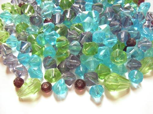 Transparent Glass Beads Bicones/drops - Soup Mix 50 grams close up