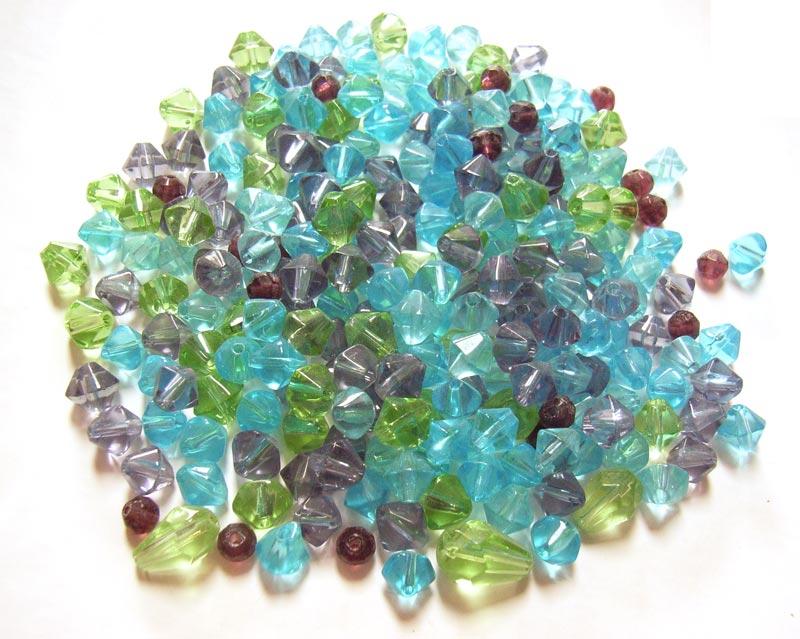 Transparent Glass Beads Bicones/drops - Soup Mix 50 grams