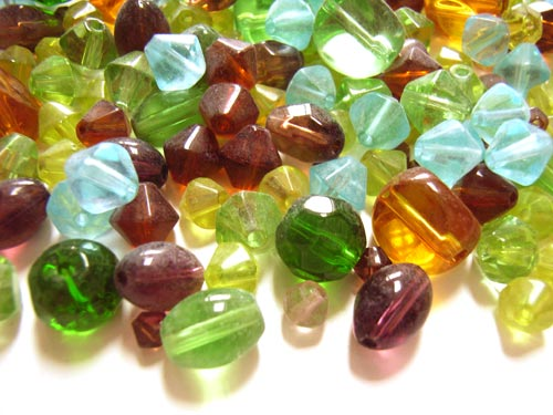 Transparent Glass Beads Bicones/nuggets - Earthtone Soup Mix 50 grams closeup