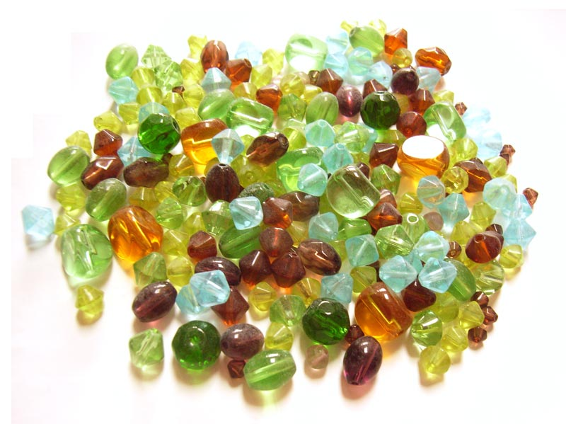 Transparent Glass Beads Bicones/nuggets - Earthtone Soup Mix 50 grams