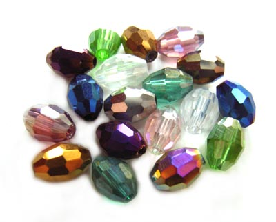 Imperial Crystal Olive Beads 8x6mm Mixed Lustre x18