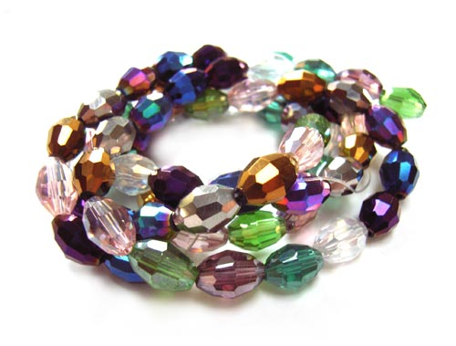 Imperial Crystal Olive Beads 8x6mm Mixed Lustre x72