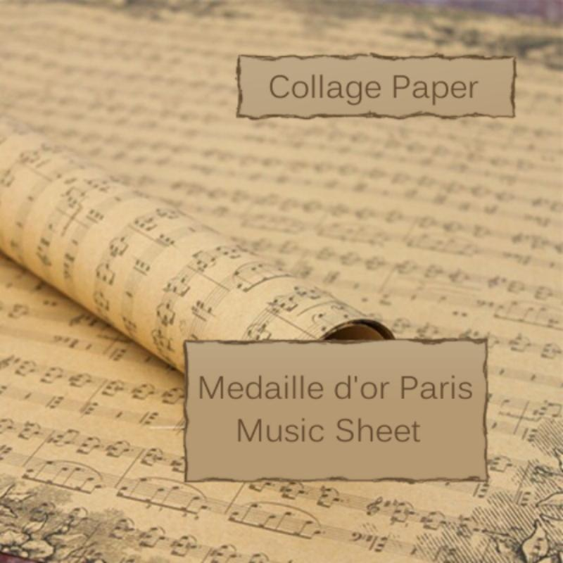 Vintage Music Sheet Ephemera Image Design, 29 x 20.5 inch (750 x 520 mm) Collage Sheet / Wrapping PaperUK