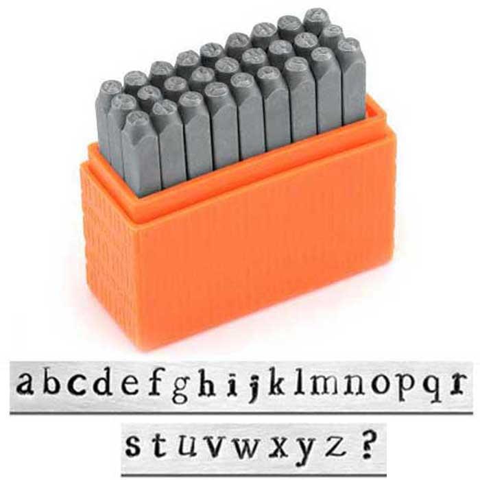 Newsprint Alphabet Lower Case Letter 3mm 1/8 Basic Stamping Set - ImpressArt