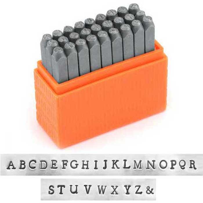 Newsprint Alphabet Upper Case Letter 3mm 1/8 Basic Stamping Set - ImpressArt