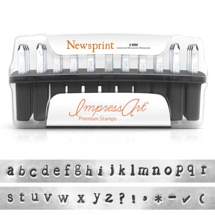"""3mm 1/8"""" Alphabet Stamp Set - Newsprint Lower Case - ImpressArt Premium"""