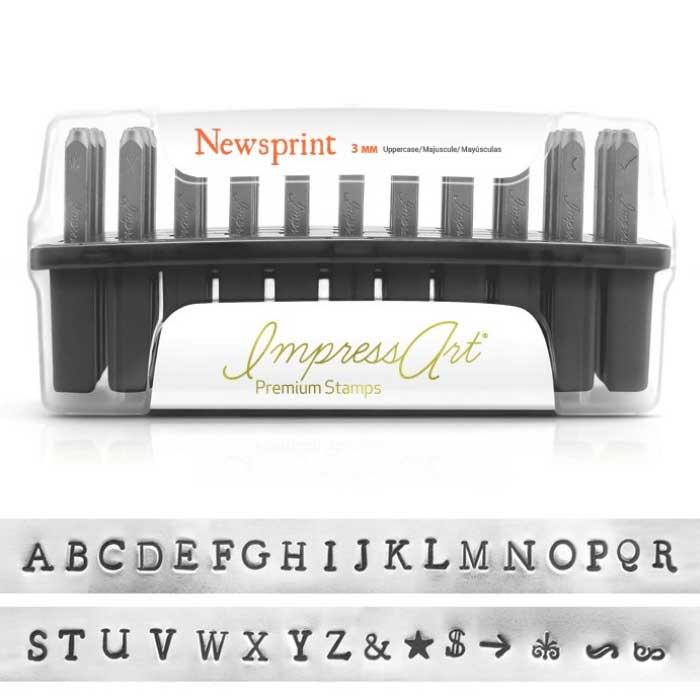 Premium Newsprint Alphabet Upper Case Letter 3mm 1/8 Stamping Set - ImpressArt UK