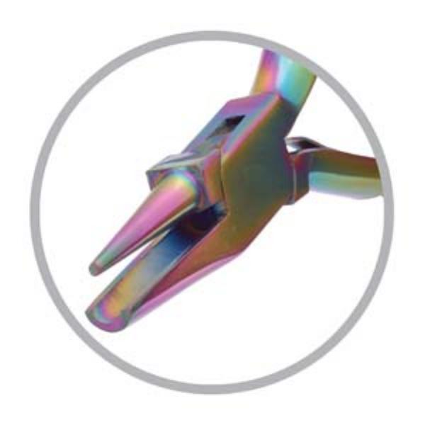 Beadsmith Pliers, Chroma Rainbow Titanium Round Concave Nose Plier UK 1
