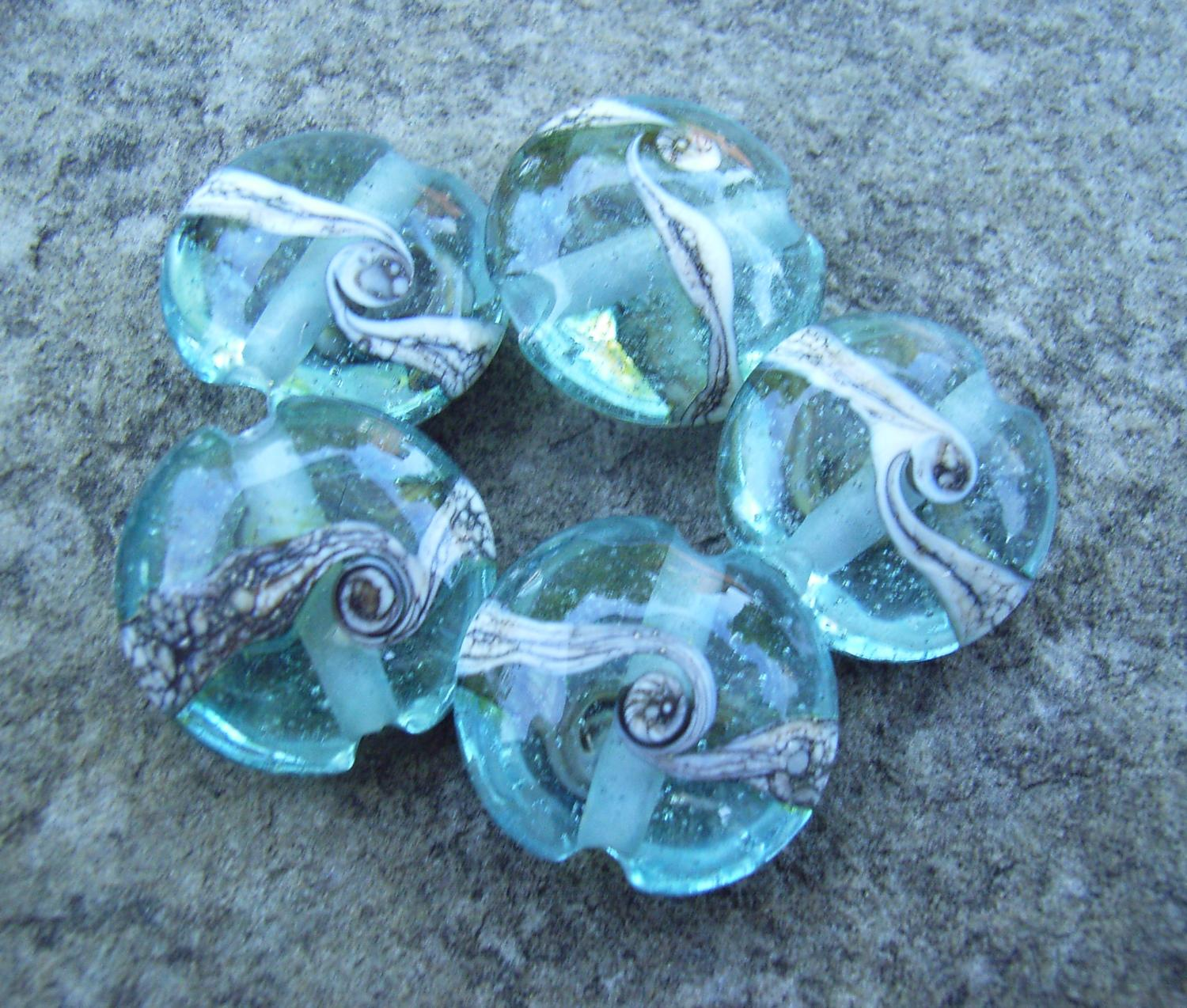Silvered Ivory Swirl 18mm Aqua Lentil Handmade Artisan Glass Lampwork Beads - By the Bead, (Made to Order) a