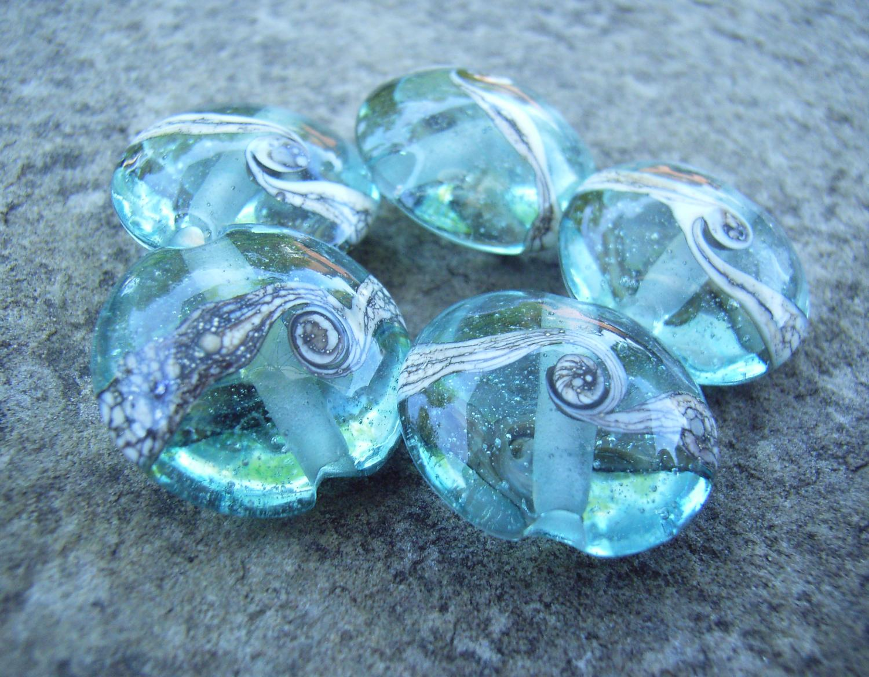 Silvered Ivory Swirl 18mm Aqua Lentil Handmade Artisan Glass Lampwork Beads - By the Bead, (Made to Order)  b