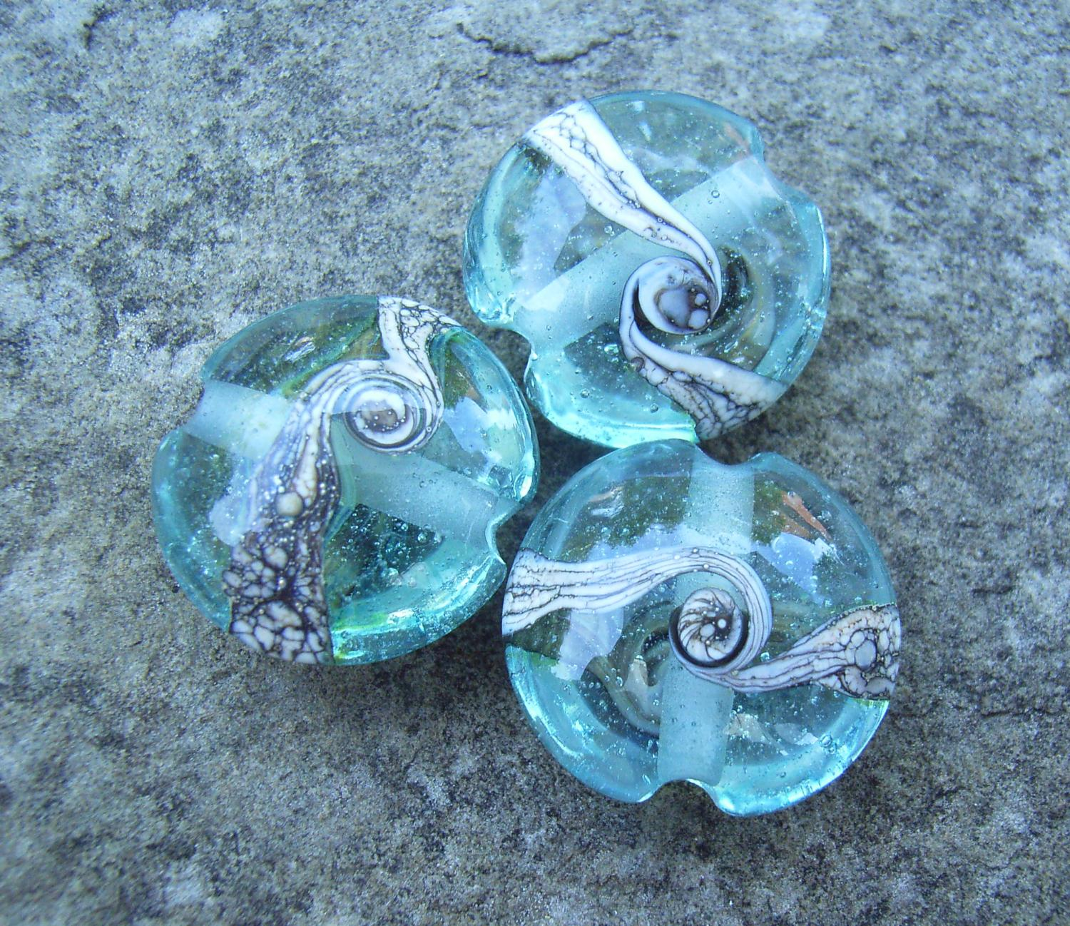 Silvered Ivory Swirl 18mm Aqua Lentil Handmade Artisan Glass Lampwork Beads - By the Bead, (Made to Order) c