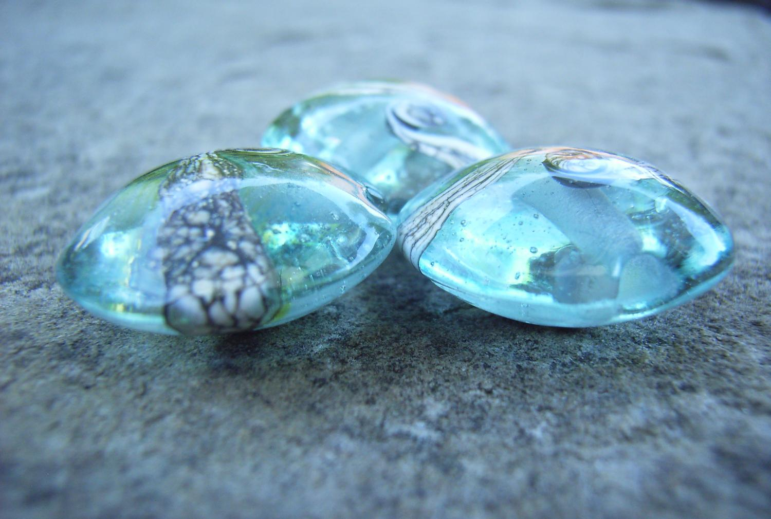 Silvered Ivory Swirl 18mm Aqua Lentil Handmade Artisan Glass Lampwork Beads - By the Bead, (Made to Order) d