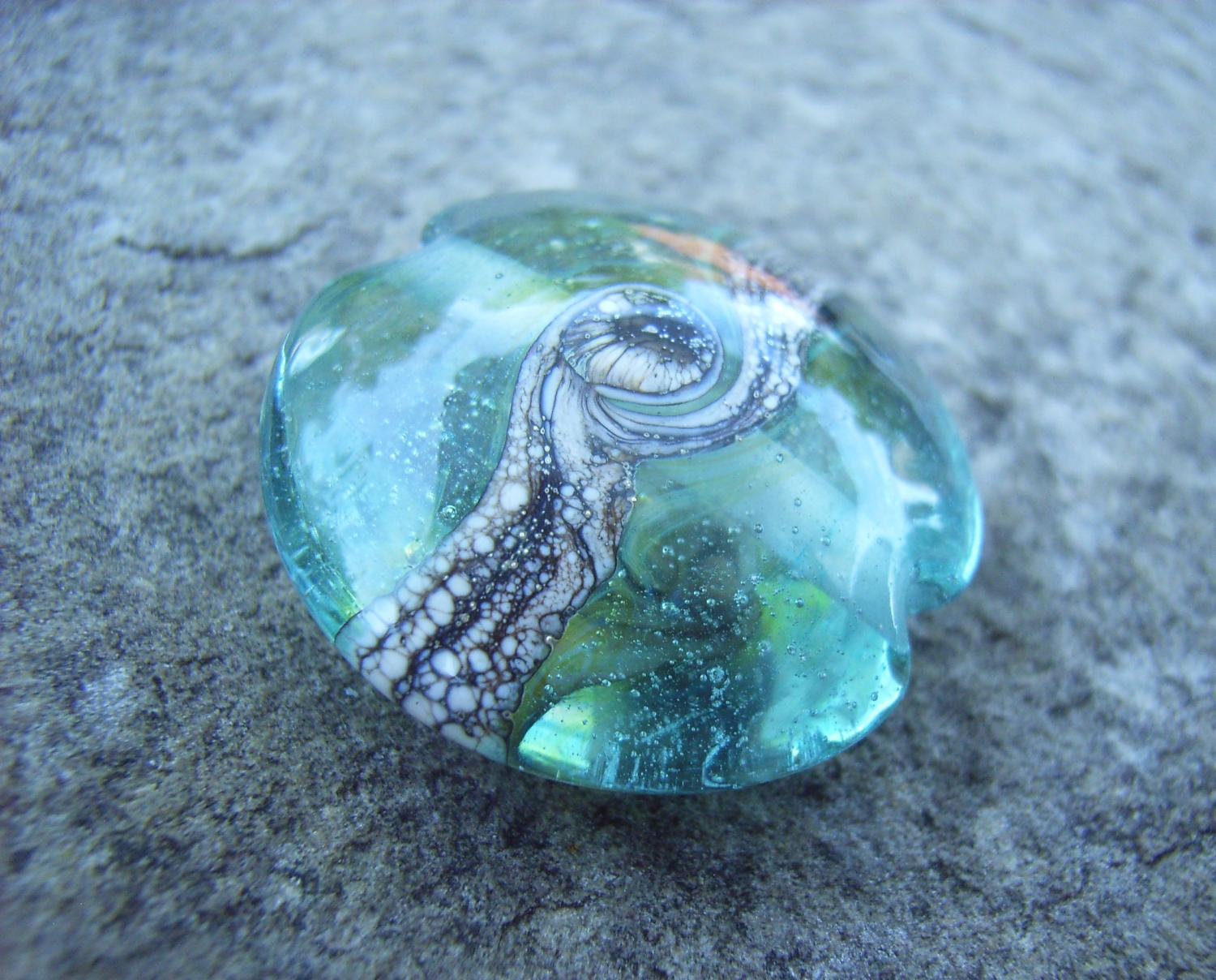 Silvered Ivory Swirl 18mm Aqua Lentil Handmade Artisan Glass Lampwork Beads - By the Bead, (Made to Order) f