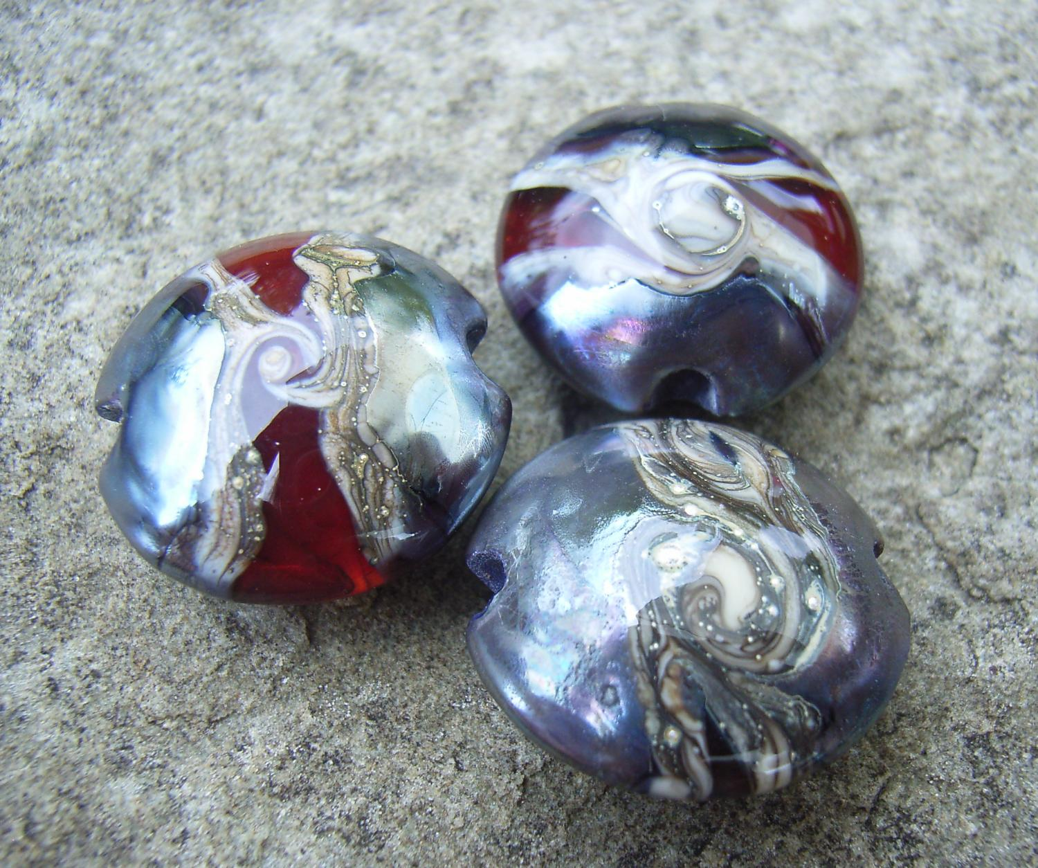 Special Nebula Swirl 18mm Lentil Handmade Artisan Glass Lampwork Beads - By the Bead, (Made to Order) 2