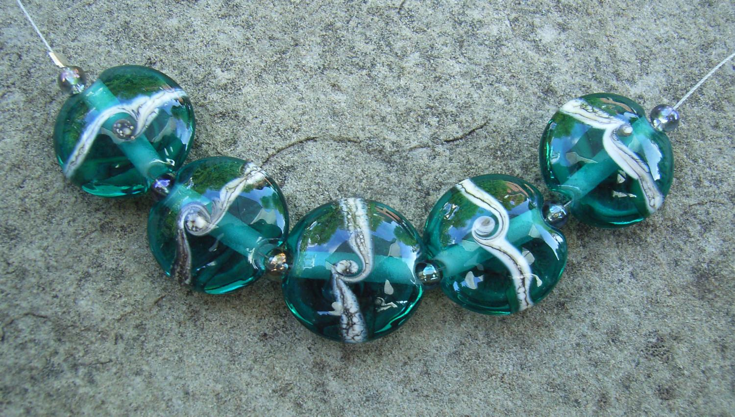 Silvered Ivory Swirl Teal 18mm Lentil Handmade Artisan Glass Lampwork Beads - By the Bead, (Made to Order) 3