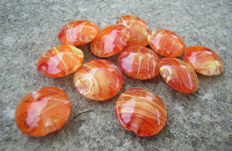 Red, Orange, Yellow Filigrana 18mm Lentil Handmade Artisan Glass Lampwork Beads - By the Bead, (Made to Order) 1