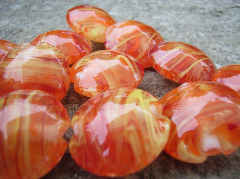 Red, Orange, Yellow Filigrana 18mm Lentil Handmade Artisan Glass Lampwork Beads - By the Bead, (Made to Order) 3