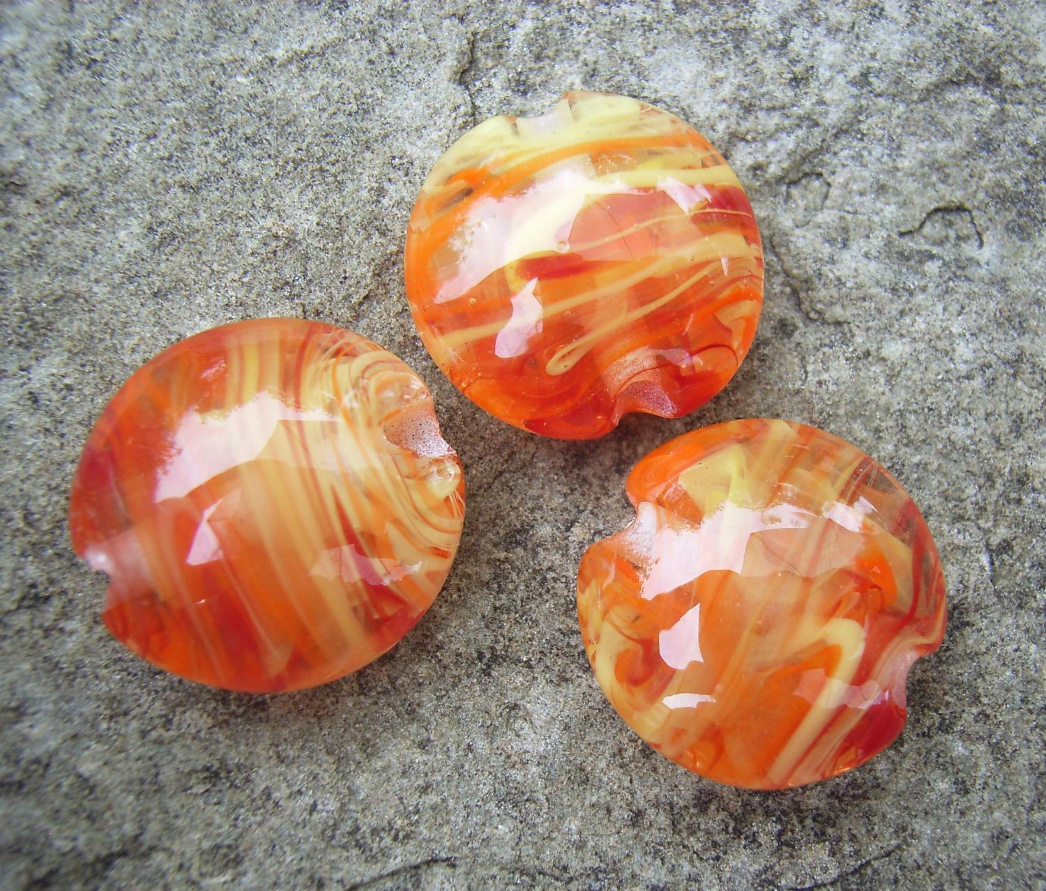 Red, Orange, Yellow Filigrana 18mm Lentil Handmade Artisan Glass Lampwork Beads - By the Bead, (Made to Order)