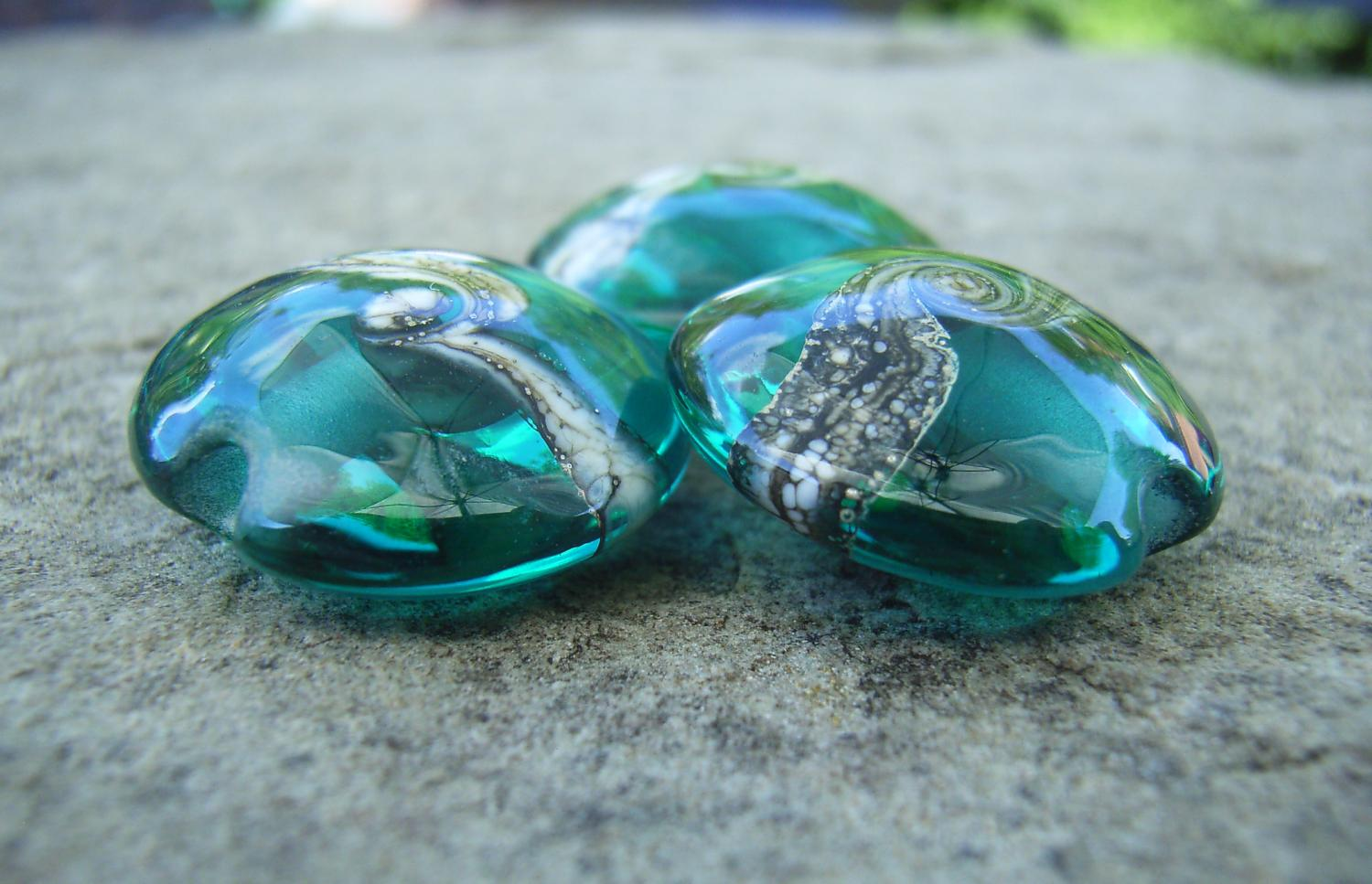 Silvered Ivory Swirl Teal 18mm Lentil Handmade Artisan Glass Lampwork Beads - By the Bead, (Made to Order) 2