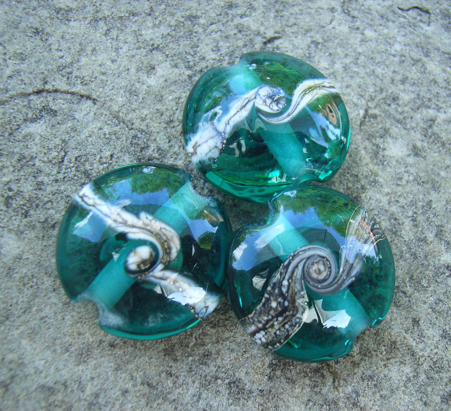 Silvered Ivory Swirl Teal 18mm Lentil Handmade Artisan Glass Lampwork Beads - By the Bead, (Made to Order)
