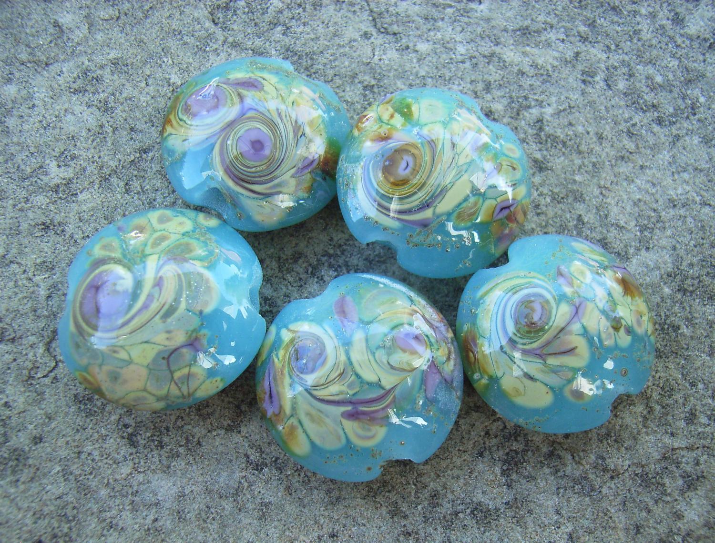 Opaque Turquoise Raku Swirl 18mm Lentil Handmade Artisan Glass Lampwork Beads - By the Bead, (Made to Order) 3