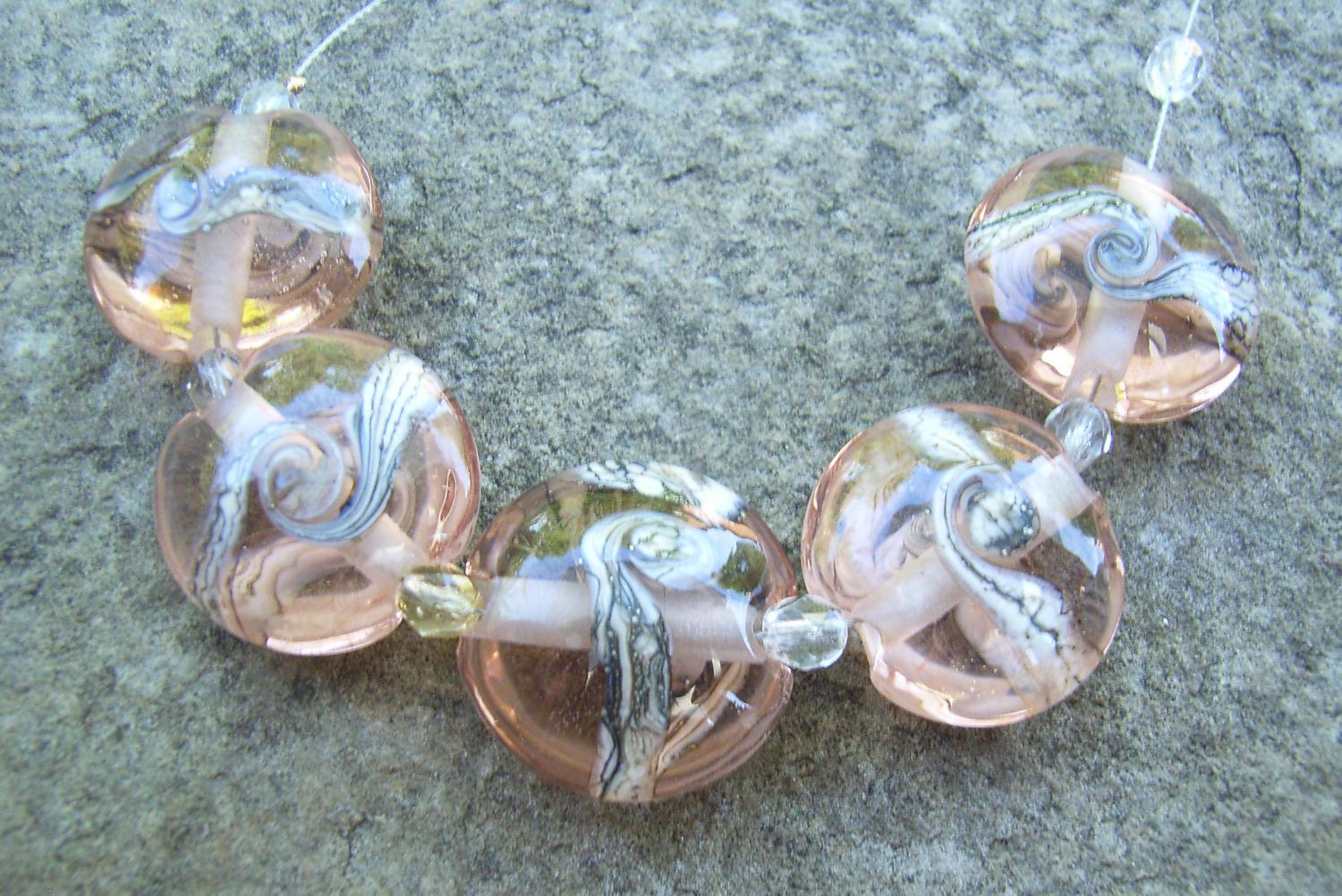 Silvered Ivory Swirl 18mm Peach Lentil Handmade Artisan Glass Lampwork Beads - By the Bead, (Made to Order)