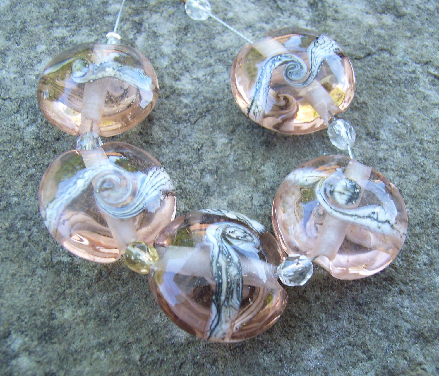 Silvered Ivory Swirl 18mm Peach Lentil Handmade Artisan Glass Lampwork Beads - By the Bead, (Made to Order) 2