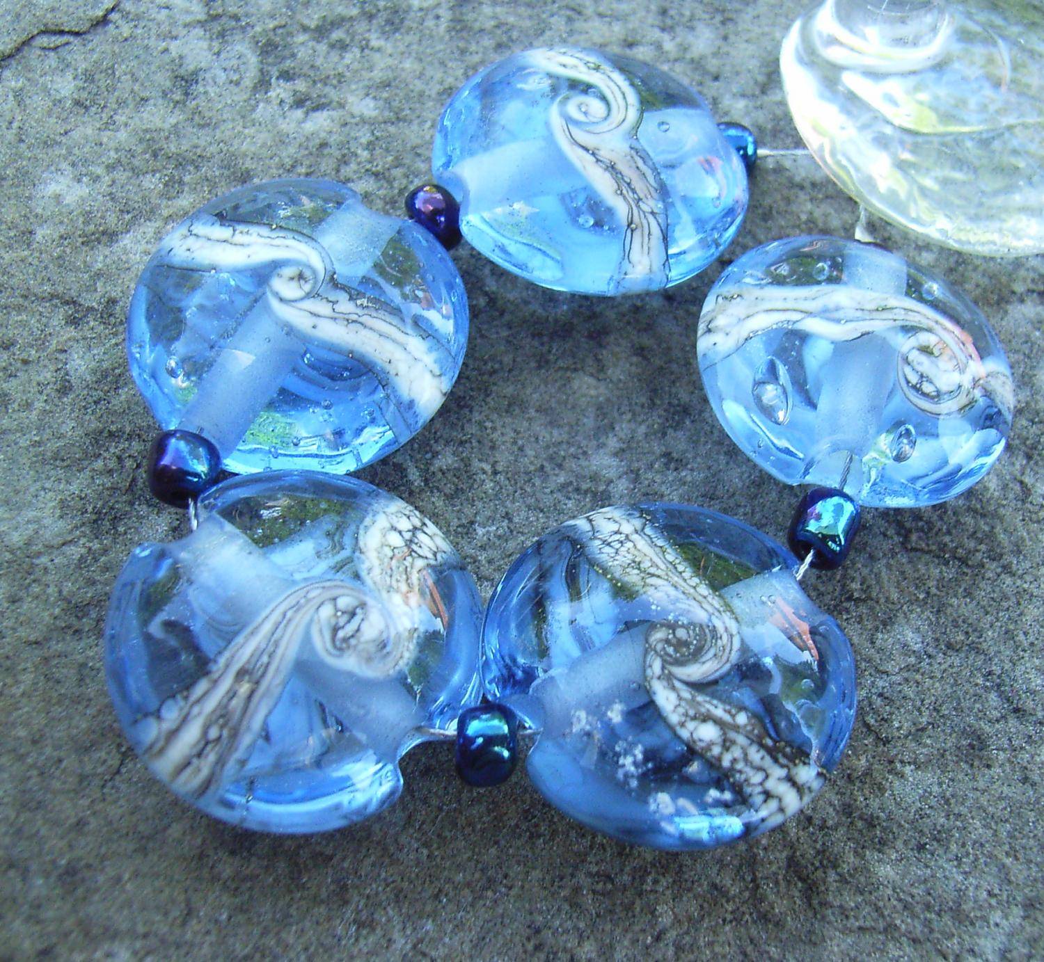 Silvered Ivory Swirl 18mm Light Sapphire Lentil Handmade Artisan Glass Lampwork Beads - By the Bead, (Made to Order)