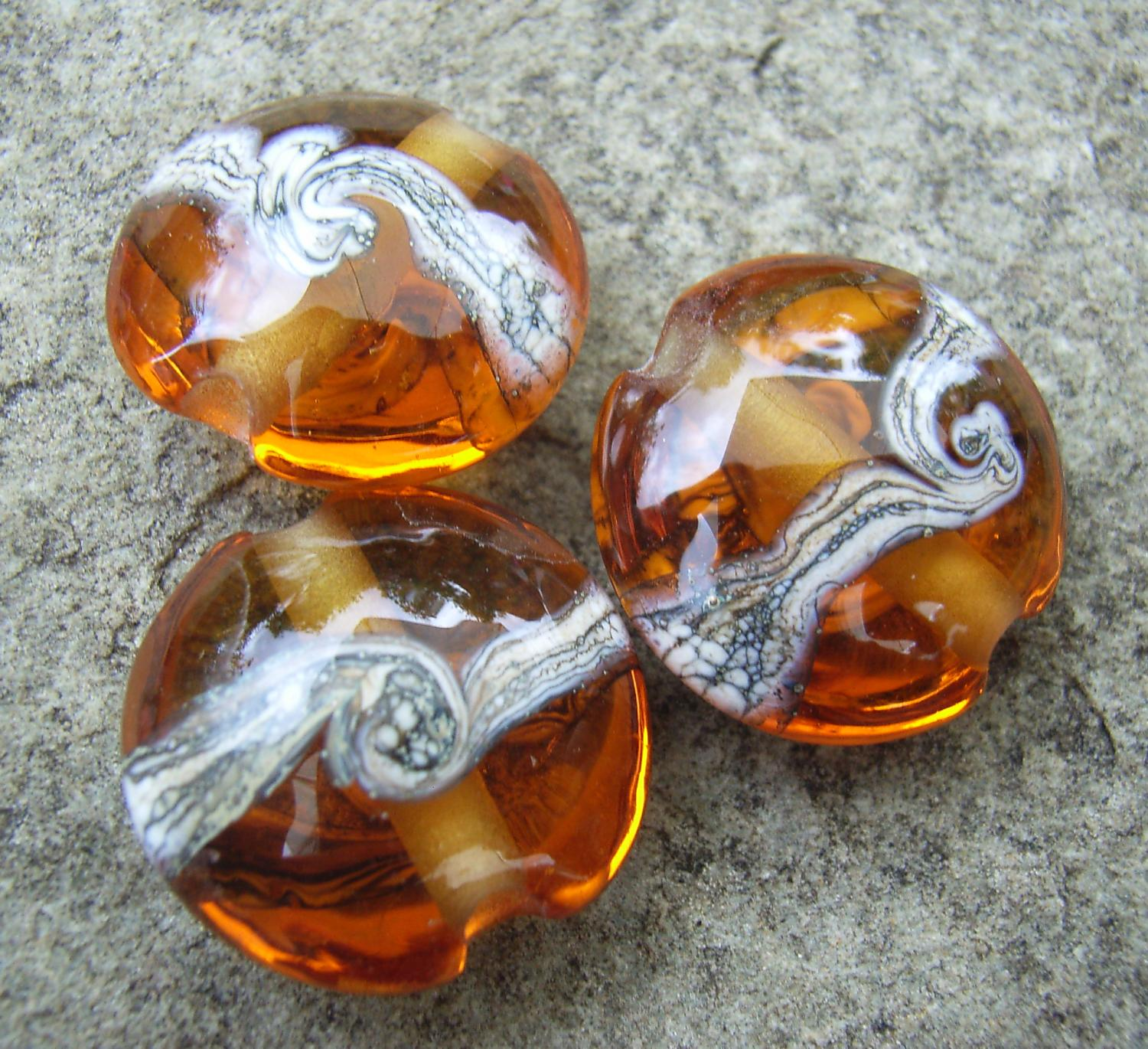 Silvered Ivory Swirl 18mm Medium Amber Lentil Handmade Artisan Glass Lampwork Beads - By the Bead, (Made to Order) b