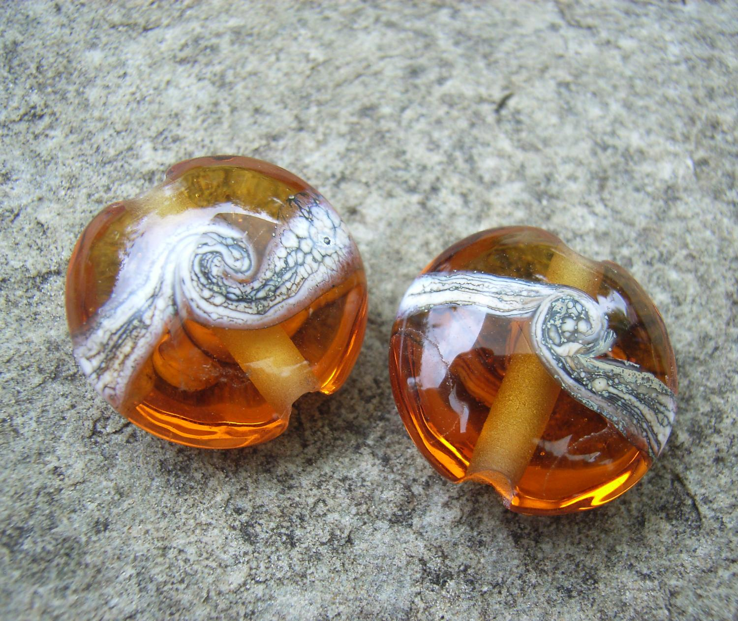 Silvered Ivory Swirl 18mm Medium Amber Lentil Handmade Artisan Glass Lampwork Beads - By the Bead, (Made to Order)