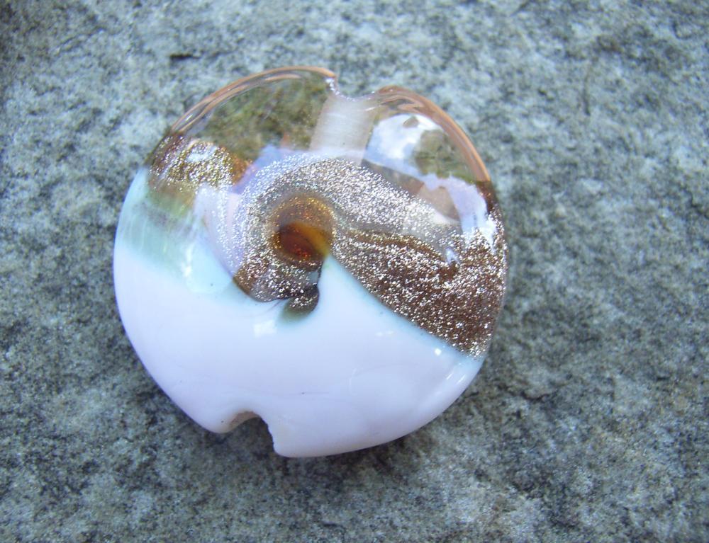 Rose Gold Goldstone Swirl 18mm Lentil Handmade Artisan Glass Lampwork Beads - By the Bead, (Made to Order) 7
