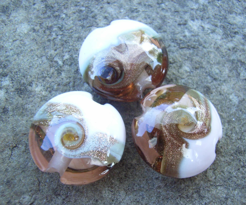 Rose Gold Goldstone Swirl 18mm Lentil Handmade Artisan Glass Lampwork Beads - By the Bead, (Made to Order) 4