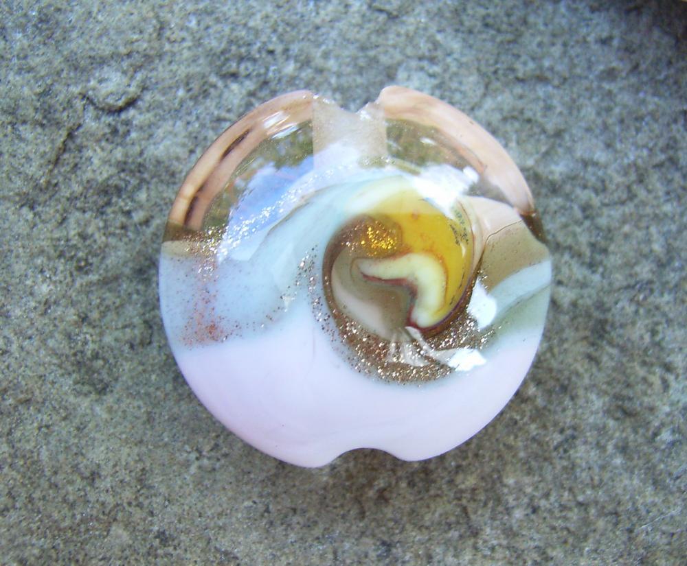 Rose Gold Goldstone Swirl 18mm Lentil Handmade Artisan Glass Lampwork Beads - By the Bead, (Made to Order) 6
