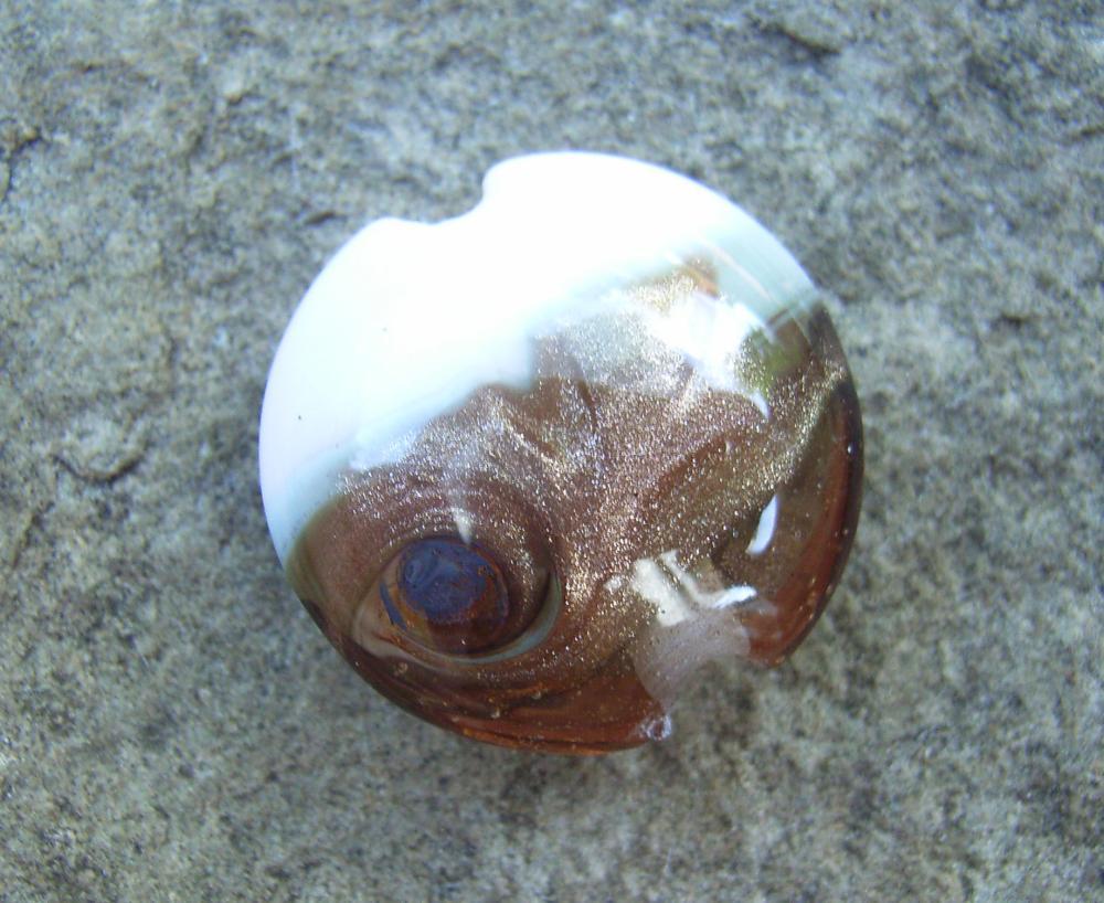 Rose Gold Goldstone Swirl 18mm Lentil Handmade Artisan Glass Lampwork Beads - By the Bead, (Made to Order) 5