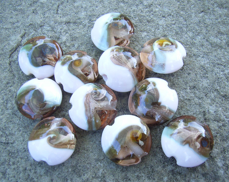 Rose Gold Goldstone Swirl 18mm Lentil Handmade Artisan Glass Lampwork Beads - By the Bead, (Made to Order)