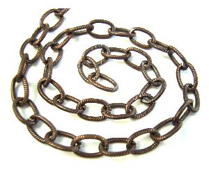 Brass ~ Natural Vintaj Etched Cable Chain 6.5 x 9.5mm x1ft ~ 30cm