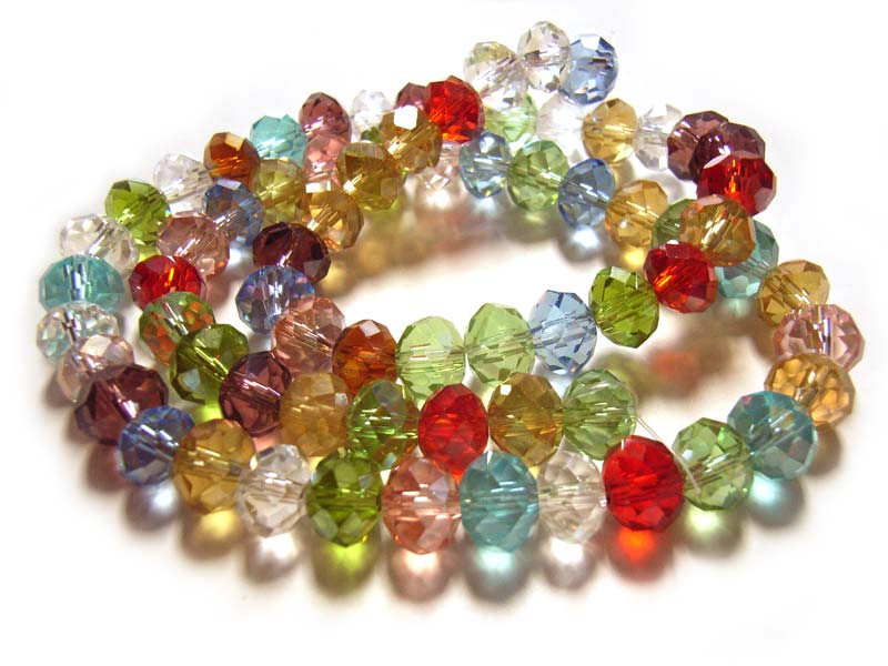 Imperial Chinese Crystal Roundelle Beads 8x6mm Soft Jewels Mix strand