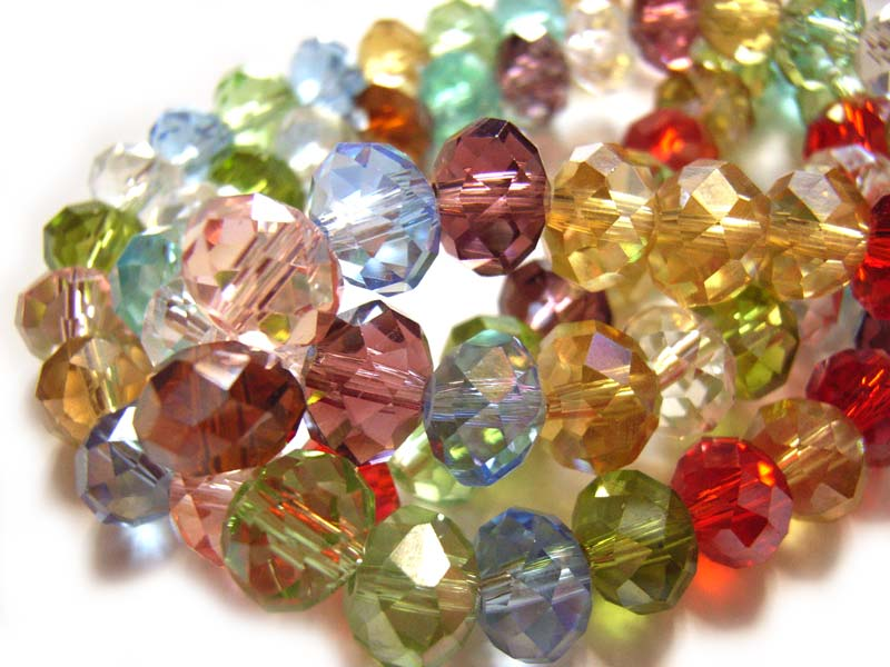 Imperial Chinese Crystal Roundelle Beads 8x6mm Soft Jewels Mix pack