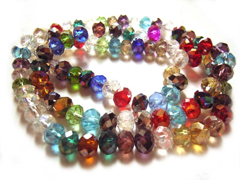 Imperial Crystal Roundelle Beads 6x4mm Gems Mix strand